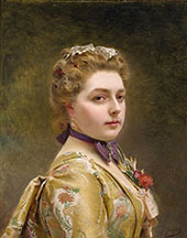 A Lady in a Golden Gown By Gustav Jacquet