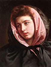 A Young Beauty with Silk Cape By Gustav Jacquet