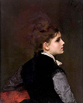 A Young Woman in Profile By Gustav Jacquet