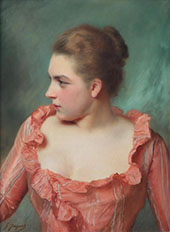 Portrait of a Lady in a Pink Dress By Gustav Jacquet