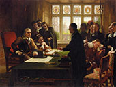 Oliver Cromwell and His Secretary John Milton Receiving a Deputation 1872 By Charles West Cope