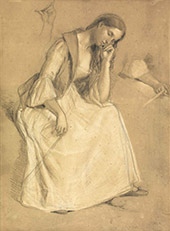 Seated Girl Study 1932 By Charles West Cope