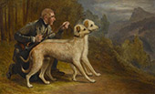 The Marquis of Huntleys Pair of Deerhounds Narren and Gaivney in a Highland Landscape By Charles West Cope