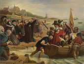 The Pilgrim Fathers Departure of a Puritan Family for New England 1856 By Charles West Cope