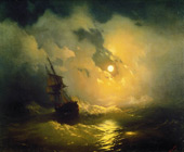 Stormy Sea at Night 1849 By Ivan Aivazovsky