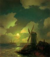 Windmill on the Sea Coast 1851 By Ivan Aivazovsky