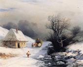 The Little Russian Ox Cart in Winter By Ivan Aivazovsky