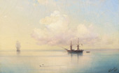 Sailing Ships on a Calm Day 1887 By Ivan Aivazovsky