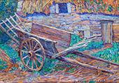 A Wheelbarrow in front of a Farm 1920 By Jo Koster