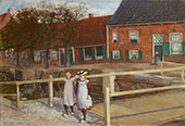Two Girl at The Town Canal in Hasselt By Jo Koster