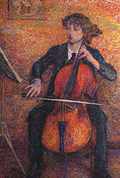 Young Man Playing a Cello By Jo Koster