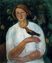 Girl with Oriole By Joaquim Sunyer