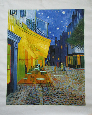 The Cafe Terrace at Arles at Night - <a href='https://www.reproduction-gallery.com/oil-painting/1105672345/the-cafe-terrace-at-arles-at-night-by-vincent-van-gogh/'>More Detail</a>