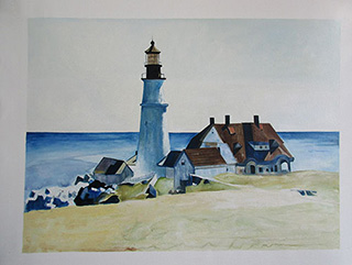 Portland Head Light 1927 - <a href='https://www.reproduction-gallery.com/oil-painting/1091502117/portland-head-light-1927-by-edward-hopper/'>More Detail</a>