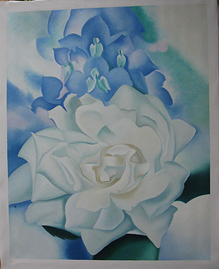 White Rose with Larkspur 1927 - <a href='https://www.reproduction-gallery.com/oil-painting/1047030158/white-rose-with-larkspur-1927-by-georgia-o-keeffe/'>More Detail</a>