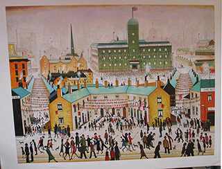 V E DAY - <a href='https://www.reproduction-gallery.com/oil-painting/1084706886/v-e-day-by-l-s-lowry/'>More Detail</a>