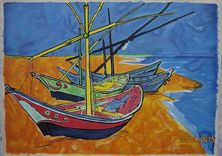 Boats at Les Saintes Maries 1888 - <a href='https://www.reproduction-gallery.com/oil-painting/1469598244/boats-at-les-saintes-maries-1888-by-vincent-van-gogh/'>More Detail</a>