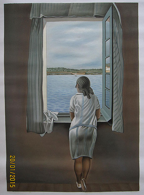Girl Standing at the Window 1925 - <a href='https://www.reproduction-gallery.com/oil-painting/1034380391/girl-standing-at-the-window-1925-by-salvador-dali/'>More Detail</a>