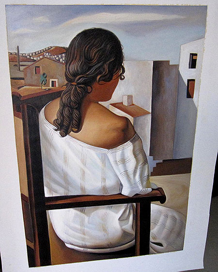 Seated Girl from the Back by Salvador Dali 1925 - <a href='https://www.reproduction-gallery.com/oil-painting/1353888684/seated-girl-from-the-back-by-salvador-dali-1925-by-salvador-dali/'>More Detail</a>