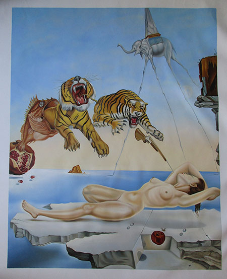Dream Caused by the Flight of a Bee Around a Pomegranate - <a href='https://www.reproduction-gallery.com/oil-painting/1469602682/dream-caused-by-the-flight-of-a-bee-around-a-pomegranate-by-salvador-dali/'>More Detail</a>