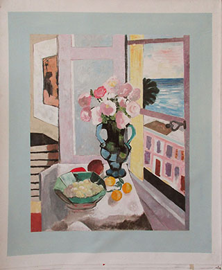 Safrano Roses At The Window 1925 By Henri Matisse - <a href='https://www.reproduction-gallery.com/oil-painting/1504229395/safrano-roses-at-the-window-1925-by-henri-matisse/'>More Detail</a>