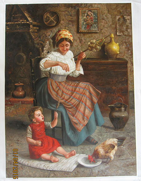 Eugenio Eduardo Zampighi Helping Mother - <a href='https://www.reproduction-gallery.com/request-a-painting/'>More Detail</a>