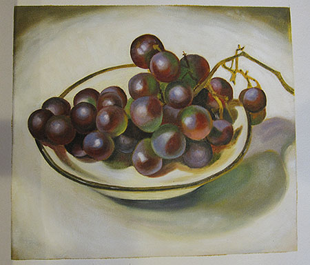 Grapes On White Dish Dark Rim 1920 - <a href='https://www.reproduction-gallery.com/oil-painting/1339992113/grapes-on-white-dish-dark-rim-1920-by-georgia-o-keeffe/'>More Detail</a>