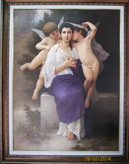 Leveil du Coeur 1892 - <a href='https://www.reproduction-gallery.com/oil-painting/1471413508/leveil-du-coeur-1892-by-william-adolphe-bouguereau/'>More Detail</a>
