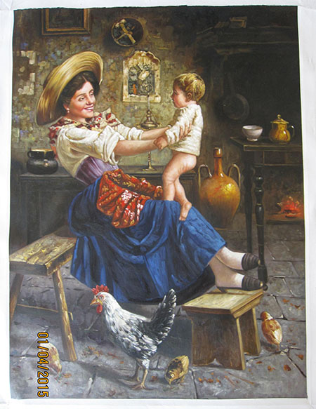 Eugenio Eduardo Zampighi Playing with Mother - <a href='https://www.reproduction-gallery.com/request-a-painting/'>More Detail</a>