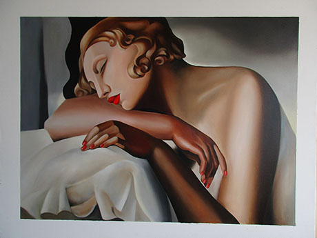 La Dormeuse - <a href='https://www.reproduction-gallery.com/oil-painting/1082940323/la-dormeuse-by-tamara-de-lempicka/'>More Detail</a>