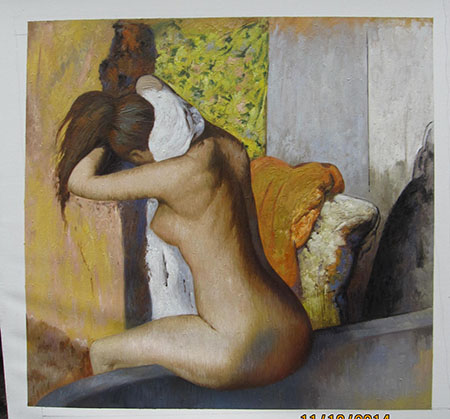 After the Bath, Woman Drying Her Nape 1895 - <a href='https://www.reproduction-gallery.com/oil-painting/1131064702/after-the-bath-woman-drying-her-nape-1895-by-edgar-degas/'>More Detail</a>