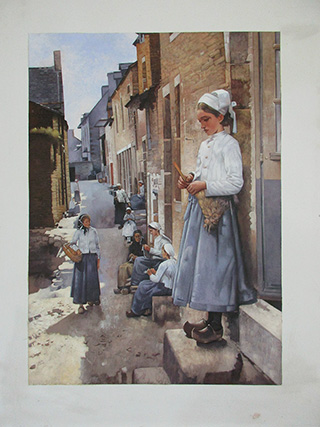 A Street In Brittany 1881 By Stanhope Forbes - <a href='https://www.reproduction-gallery.com/oil-painting/1460429941/a-street-in-brittany-1881-by-stanhope-forbes/'>More Detail</a>