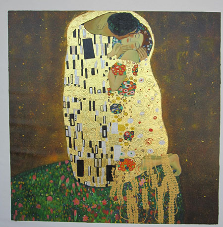 The Kiss 1908 (Square Format) - <a href='https://www.reproduction-gallery.com/oil-painting/1455250892/the-kiss-1908-square-format-by-gustav-klimt/'>More Detail</a>