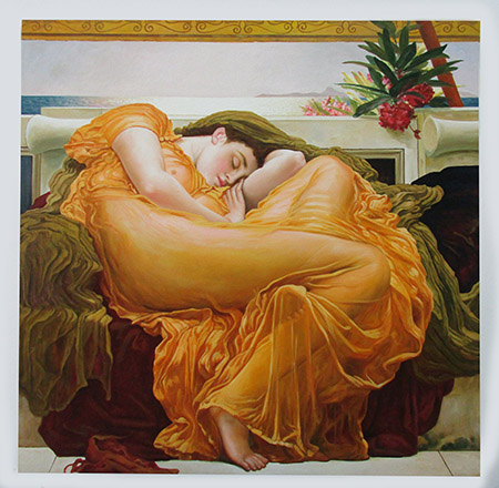 Flaming June c1895 - <a href='https://www.reproduction-gallery.com/oil-painting/1174287137/flaming-june-c1895-by-frederick-lord-leighton/'>More Detail</a>