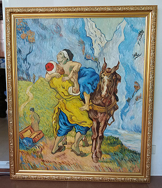 The Good Samaritan After Delacroix 1890 By Vincent Van Gogh - <a href='https://www.reproduction-gallery.com/oil-painting/1095557545/the-good-samaritan-after-delacroix-1890-by-vincent-van-gogh/'>More Detail</a>